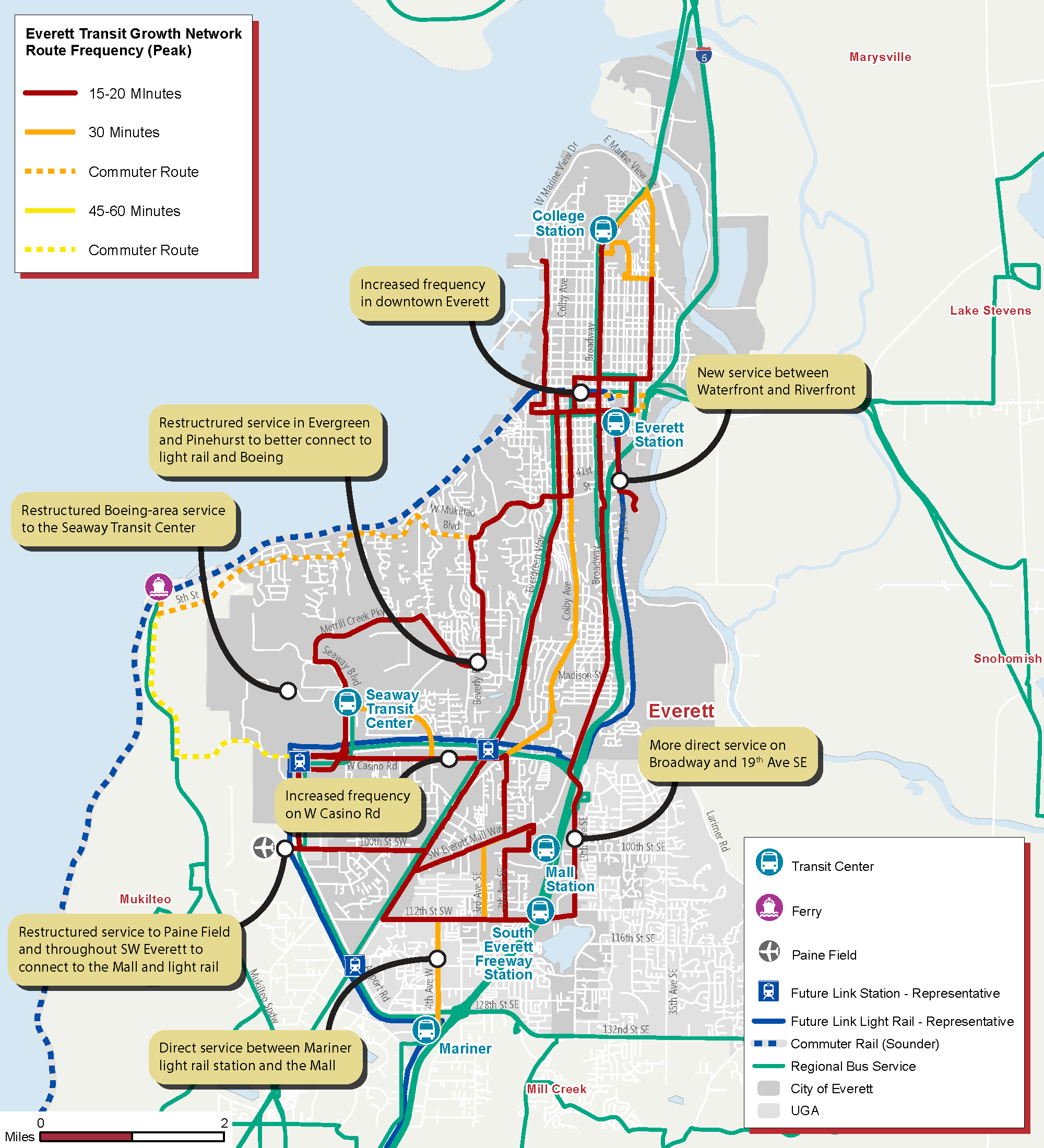 Everett Transit Growth Network Route Frequency (Peak)