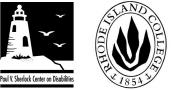Picture of logos for Rhode Island College and Paul V. Sherlock Center on Disabilities