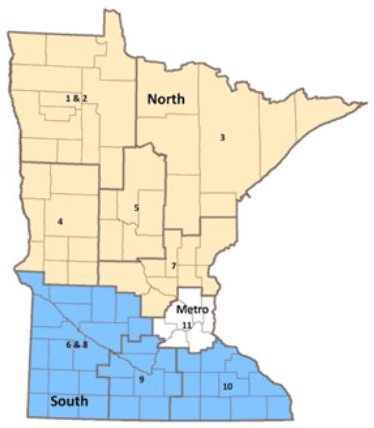 Map of Minnesota indicating Regional Implementation Projects' boundaries with North (in tan), Metro (in white) and South (in blue).