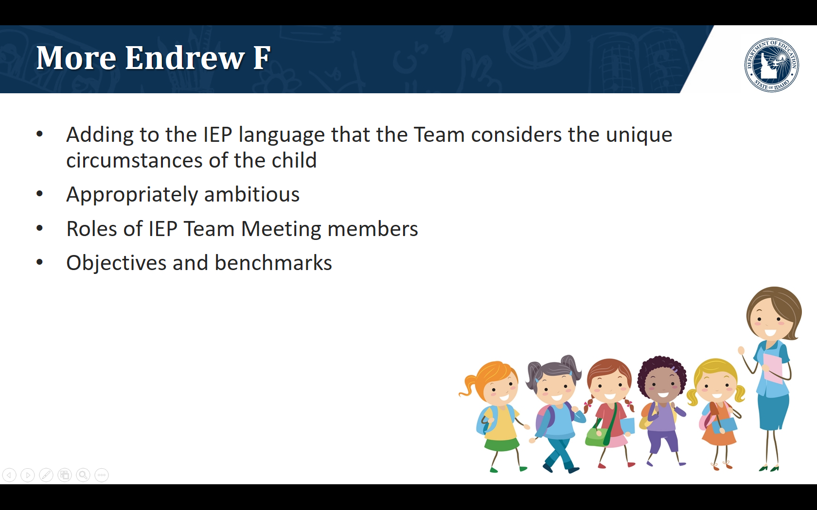 Adding to the IEP language that the Team considers the unique circumstances of the child. Appropriately ambitious. Roles of IEP Team Meeting members. Objectives and benchmarks.