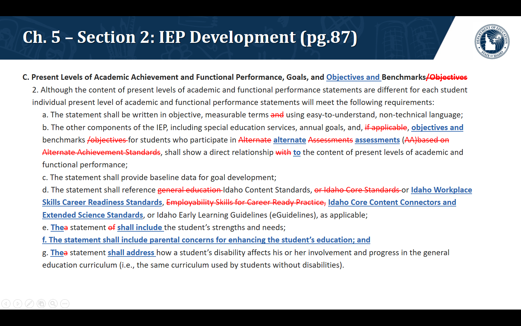 C. Present Levels of Academic Achievement and Functional Performance, Goals, and Objectives and Benchmarks 2. Although the content of present levels of academic and functional performance statements are different for each student   individual present level of academic and functional performance statements will meet the following requirements: a. The statement shall be written in objective, measurable terms using easy-to-understand, non-technical language; b. The other components of the IEP, including special education services, annual goals, and, objectives and benchmarks for students who participate in alternate assessments shall show a direct relationship to the content of present levels of academic and functional performance;  c. The statement shall provide baseline data for goal development;  d. The statement shall reference Idaho Content Standards, or Idaho Workplace Skills Career Readiness Standards, Idaho Core Content Connectors and Extended Science Standards, or Idaho Early Learning Guidelines (eGuidelines), as applicable; e. The statement shall include the student's strengths and needs;  f. The statement shall include parental concerns for enhancing the student's education; and g. The statement shall address how a student's disability affects his or her involvement and progress in the general education curriculum (i.e., the same curriculum used by students without disabilities).