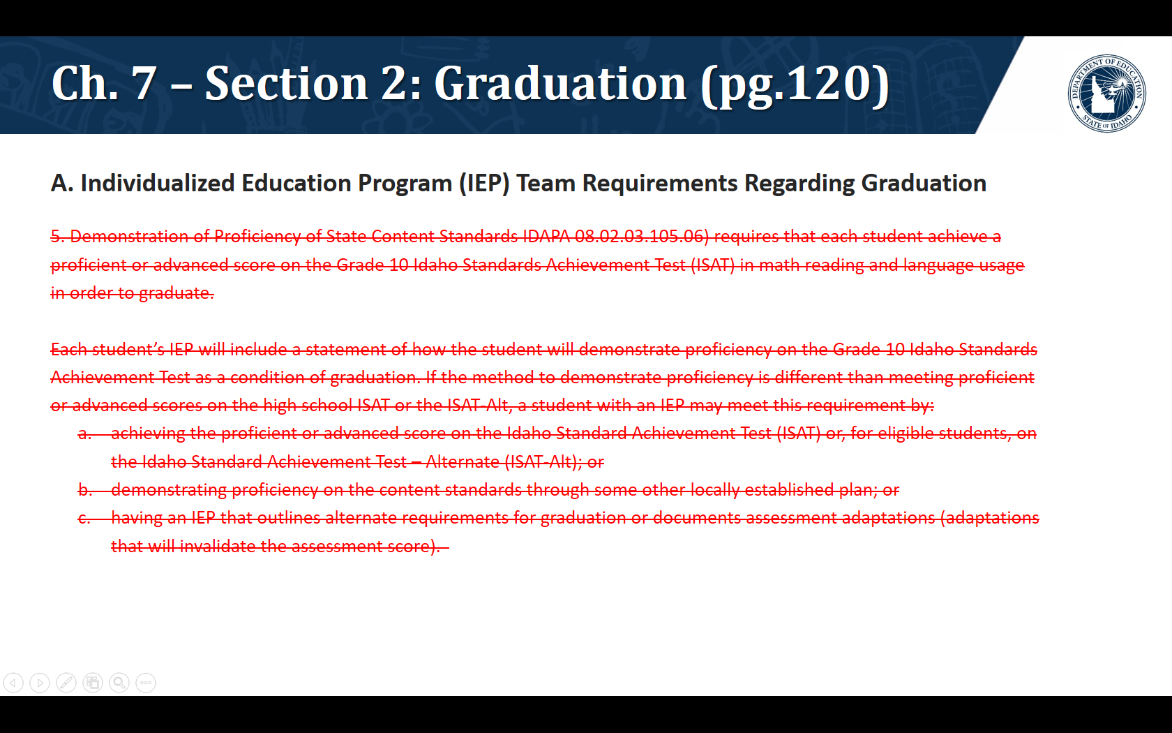 A. Individualized Education Program (IEP) Team Requirements Regarding Graduation. We are proposing to remove the following language: 5. Demonstration of Proficiency of State Content Standards IDAPA 08.02.03.105.06) requires that each student achieve a proficient or advanced score on the Grade 10 Idaho Standards Achievement Test (ISAT) in math reading and language usage in order to graduate.   Each student's IEP will include a statement of how the student will demonstrate proficiency on the Grade 10 Idaho Standards Achievement Test as a condition of graduation. If the method to demonstrate proficiency is different than meeting proficient or advanced scores on the high school ISAT or the ISAT-Alt, a student with an IEP may meet this requirement by: achieving the proficient or advanced score on the Idaho Standard Achievement Test (ISAT) or, for eligible students, on the Idaho Standard Achievement Test – Alternate (ISAT-Alt); or demonstrating proficiency on the content standards through some other locally established plan; or having an IEP that outlines alternate requirements for graduation or documents assessment adaptations (adaptations that will invalidate the assessment score).