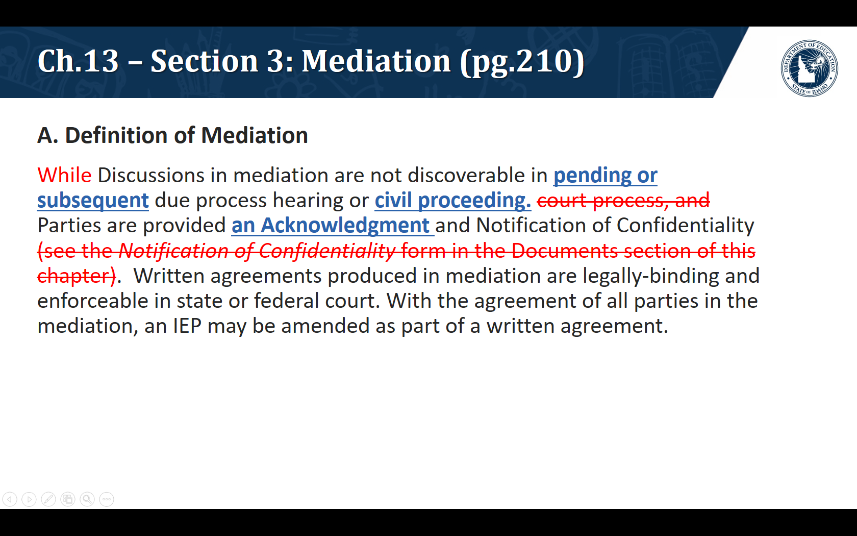 A. Definition of Mediation. Discussions in mediation are not discoverable in pending or subsequent due process hearing or civil proceeding. Parties are provided an Acknowledgment and Notification of Confidentiality.Written agreements produced in mediation are legally-binding and enforceable in state or federal court. With the agreement of all parties in the mediation, an IEP may be amended as part of a written agreement.