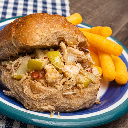 Bacon & Apple Pulled Chicken Sandwiches