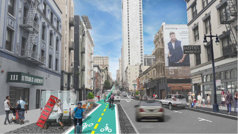 Remix A depicts a one-way roadway configuration with one travel lane, along with a widened sidewalk, two-way separated bike lane and space for parking and loading.