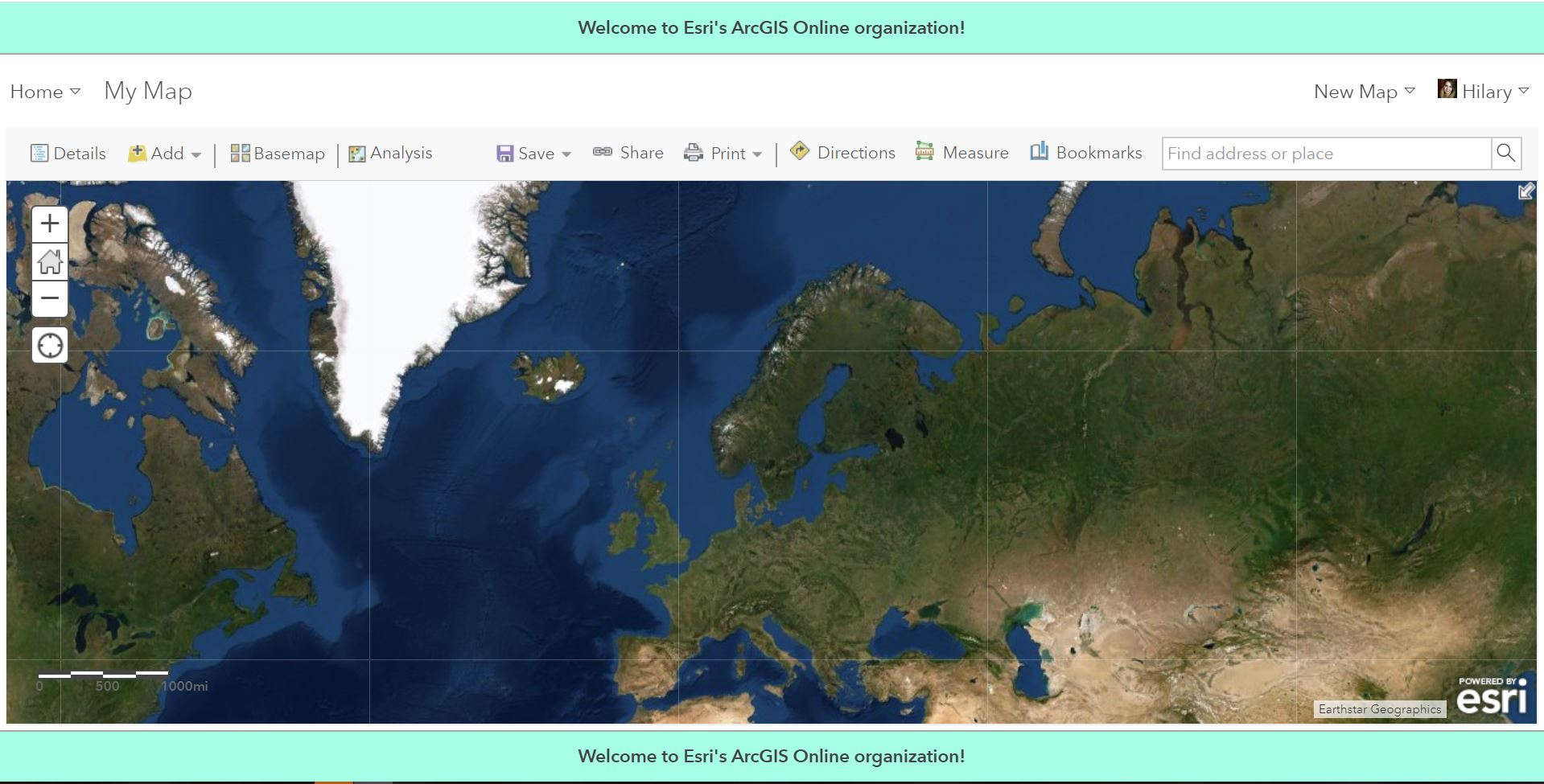 An example of the information banner at the top and bottom of the map tab in ArcGIS Online.