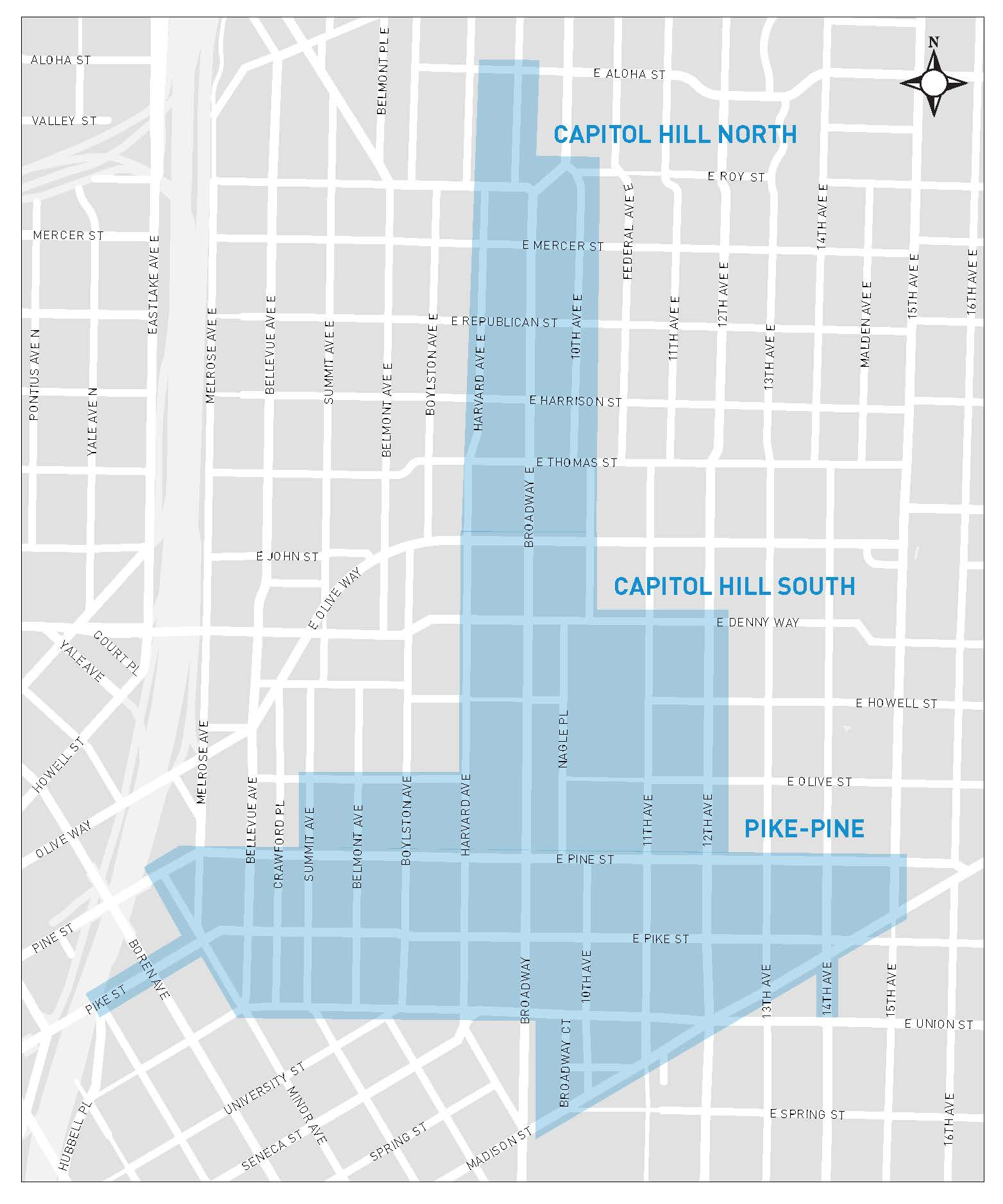 Parking hours will be extended on the streets that have paid parking in the shaded areas shown.