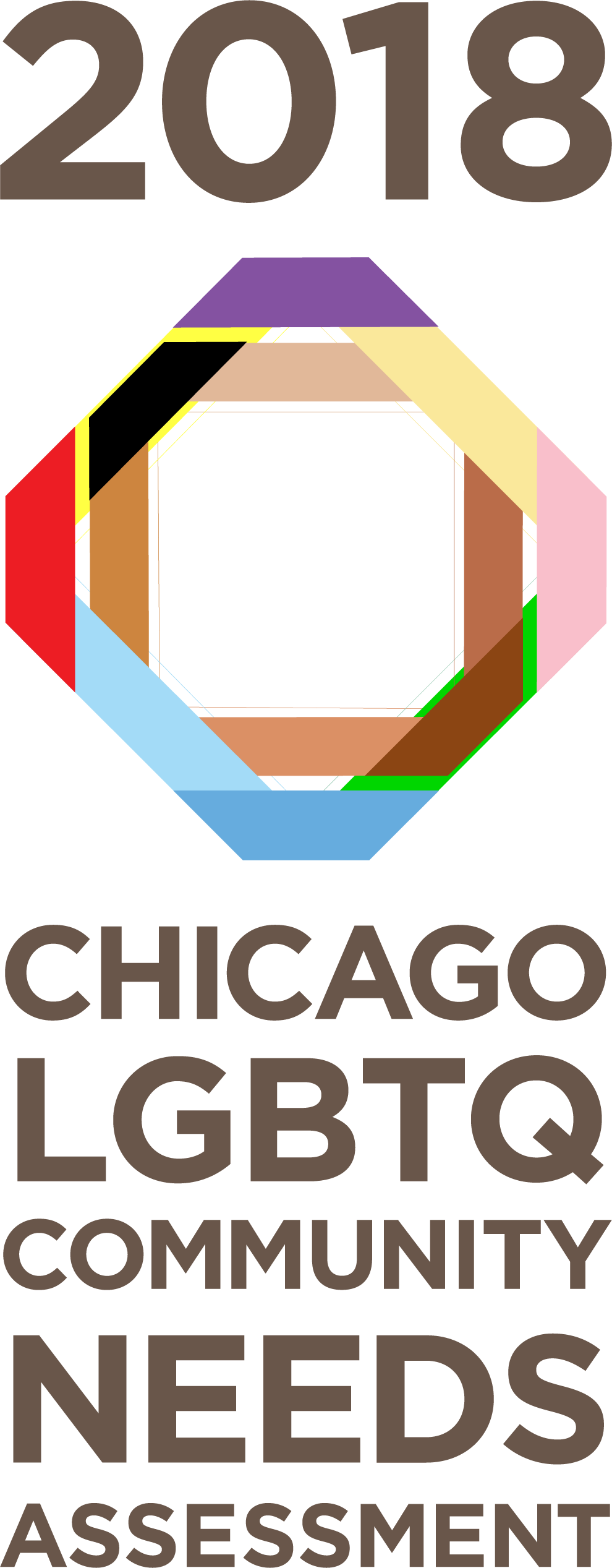 2018 Chicago LGBTQ Community Needs Assessment Logo. Intersecting lines in rainbow colors, including black and brown, representing the inclusive Pride flag.