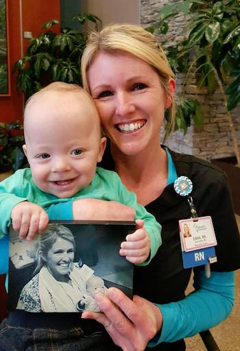 This precious boy was one of my primaries last year.  He came to visit me at our hospital this year for our Children's Hospital radiothon.  His sweet mama brought the picture I am holding to me during this visit.  It was taken while he was still in our unit.
