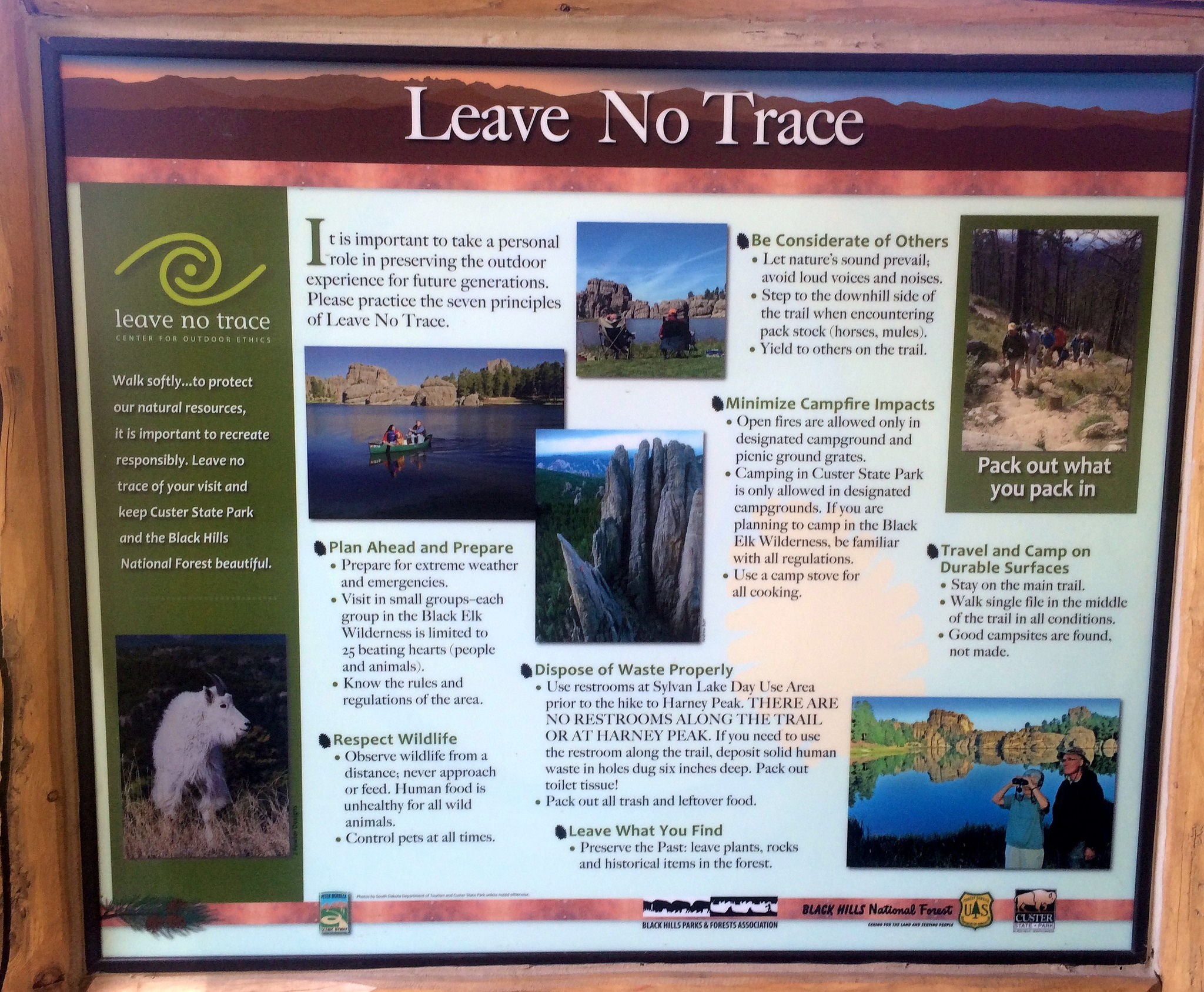 A. Leave No Trace signage with logo, Seven Principles and brief description of each.