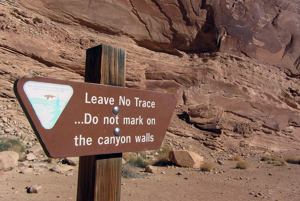 C. Leave No Trace signage with just the words Leave No Trace.