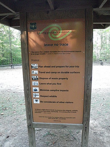 B. Leave No Trace signage with logo and list of the Seven Principles.