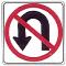 no u turn road sign