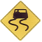 slippery when wet road sign